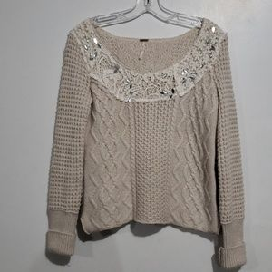 Free People Embellished Cream Sweater Size S